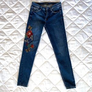 Zara Floral & Butterfly Embroidered Skinny Jeans